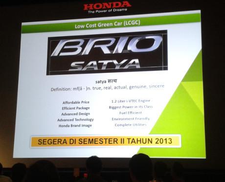 Honda Brio Satya 2013